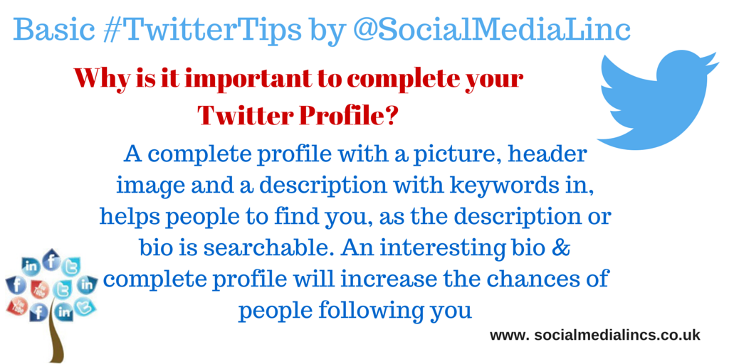 Benefits to a complete Twitter Profile